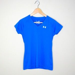 Under Armour Semi Fitted Blue V Neck Shirt XS
